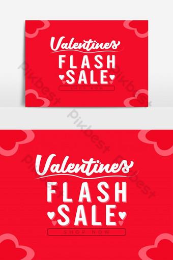 día de san valentín tipografía venta flash diseño de banner fondo de corazones Elementos graficos Modelo AI