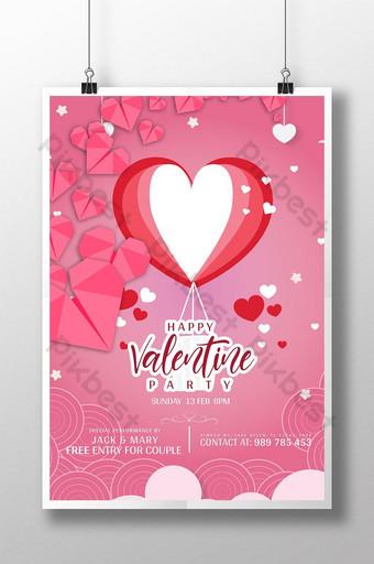 Flyer PSD thème rouge Saint Valentin Modèle PSD