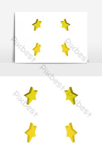 изометрические звезды проиллюстрированы и раскрашены в векторе на белом фоне Графические элементы шаблон EPS