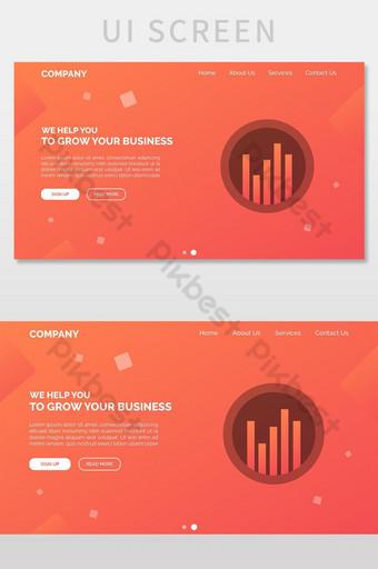 Modern Gradient Business Marketing Website Landing Page UI Screen UI Template EPS