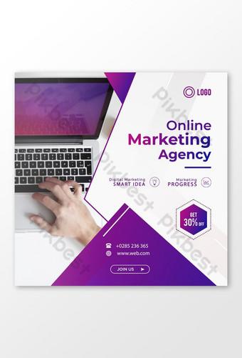 Conception de publications sur les réseaux sociaux de marketing numérique en ligne Modèle PSD