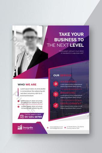 Creative Corporate Stylish Business Flyer de couleur violet et blanc Modèle AI