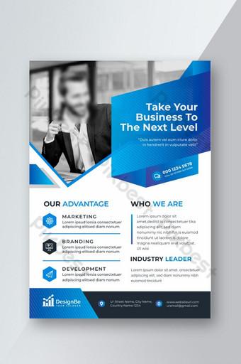 Flyer d'affaires de couleur bleu et blanc élégant d'entreprise créative Modèle AI