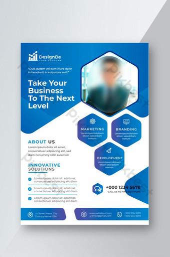 Flyer d'entreprise de couleur bleu et blanc créatif Modèle AI