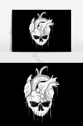 Ilustración de vector de corazón de cráneo Elementos graficos Modelo EPS