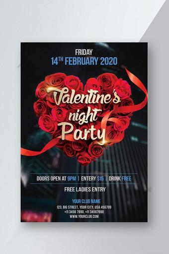 Modèle de Flyer de fête de la Saint-Valentin Modèle PSD