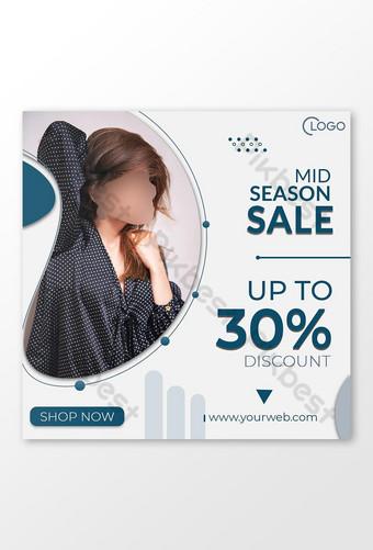 social media post instagram mid season sale fashion banner template Template PSD