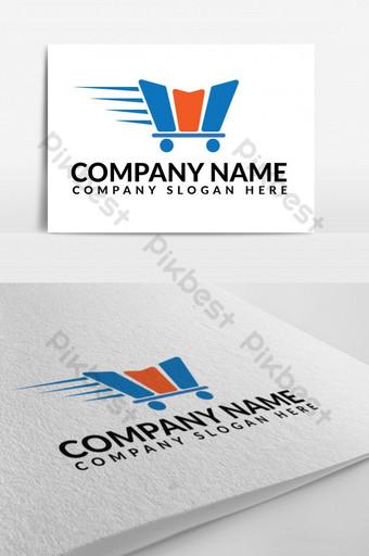 diseño de logotipo de comercio electrónico de entrega rápida Modelo EPS