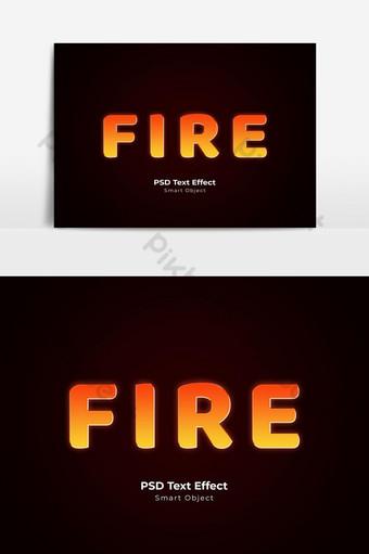 estilo de capa de efecto de texto psd de fuego Elementos graficos Modelo PSD