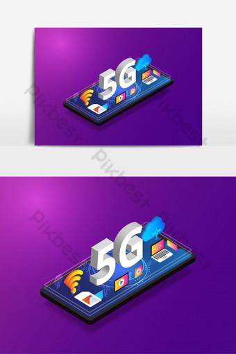 Smartphone isométrico de tecnologia sem fio de rede 5g com gadget Elementos gráficos Modelo EPS