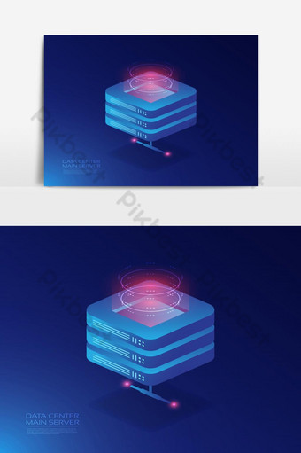 Isometric cloud service, online data storage PNG Images Template EPS