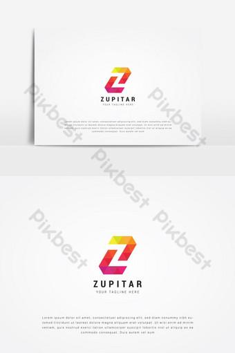 template desain logo huruf z awal berwarna-warni Elemen Grafis Templat PSD