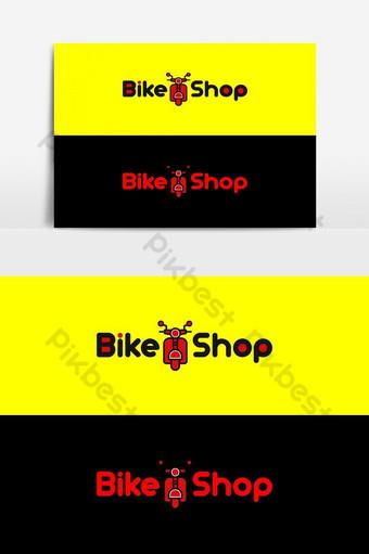 bicicleta ciclo tienda piezas elementos icono logo diseño vector Elementos graficos Modelo EPS