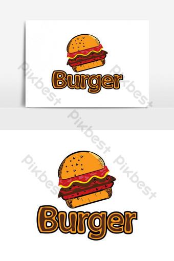 diseño de logotipo de restaurante de menú de comida de tienda de hamburguesas Elementos graficos Modelo EPS