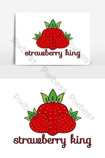 vector de diseño de logotipo de corona de hoja de rey de fresa Elementos graficos Modelo EPS