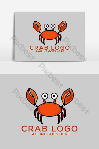 Crab Cartoon Character Vector Logo Design icon PNG Images Template EPS