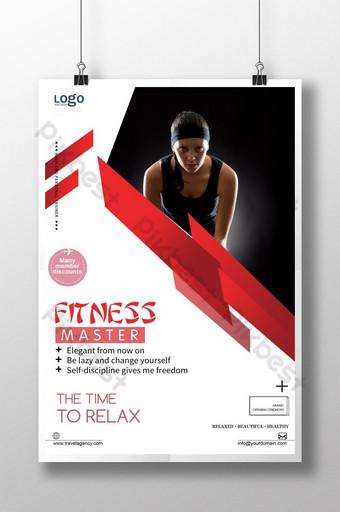 cartel de inscripción de fitness deportivo rojo blanco y negro simple Modelo PSD