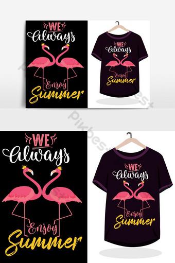 Zawsze lubimy letni różowy t shirt wektor z makietą Elementy graficzne Szablon EPS