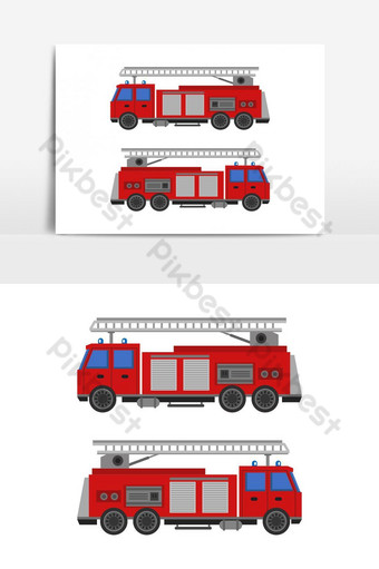 fire trucks illustrated and colored in vector on white background PNG Images Template EPS