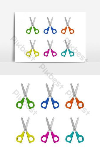 Conjunto de tijeras ilustradas y coloreadas en vector sobre fondo blanco. Elementos graficos Modelo EPS
