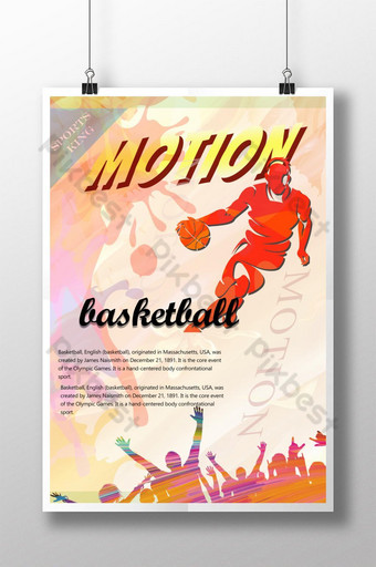 Simple basketball sports poster template with hand-drawn cartoon Template PSD