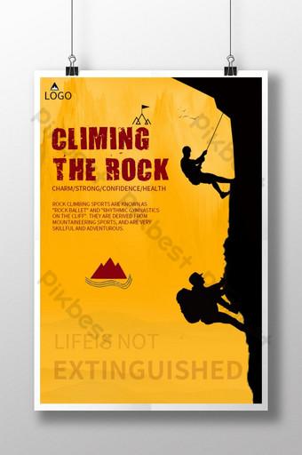 cartel creativo de escalada en roca amarilla Modelo PSD