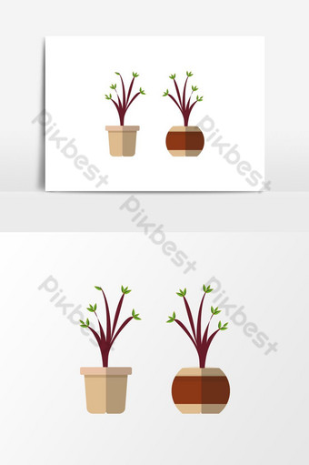 menanam pohon dalam ilustrasi vektor ikon pot kayu tanaman segar di bak pohon Elemen Grafis Templat EPS