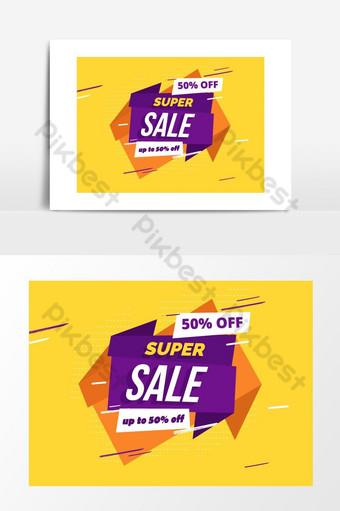 super venta etiqueta publicitaria banner diseño gráfico Elementos graficos Modelo EPS