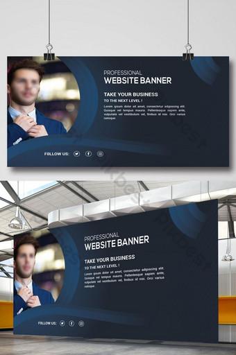 banner de sitio web profesional con formas azules clásicas Modelo AI