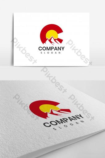 rojo y amarillo c mountain logo design template inspiración iniciales c hill logo design Modelo AI