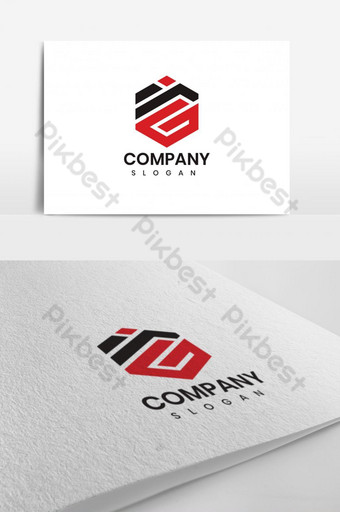 Negro y rojo irg alfabeto letra logo texto creativo empresa vector icono diseño plantilla Modelo AI