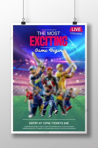 Affiche de match de cricket psd Modèle PSD
