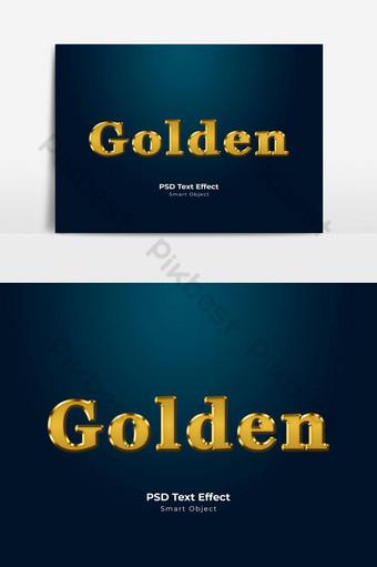 Style de calque d'effet de texte PSD doré Éléments graphiques Modèle PSD