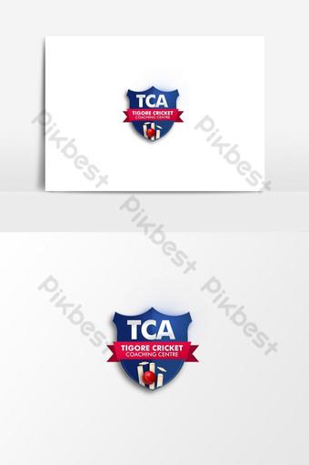 fresco tema azul academia de cricket logo psd Elementos graficos Modelo PSD