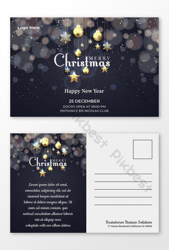 عيد ميلاد سعيد تصميم بطاقة بريدية الأعمال الأزرق الداكن قالب PSD