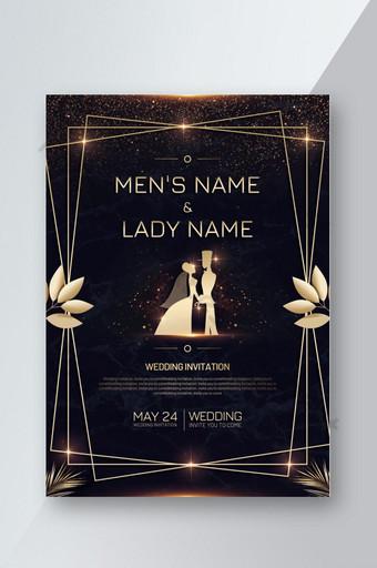 diseño de volante de cartel de invitación de boda degradado dorado Modelo PSD