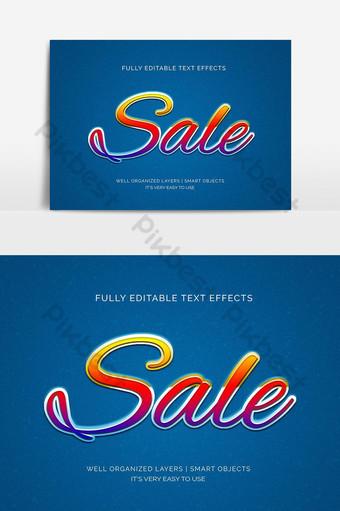 Venta de estilo de efecto de texto 3d en amarillo y rojo Elementos graficos Modelo PSD