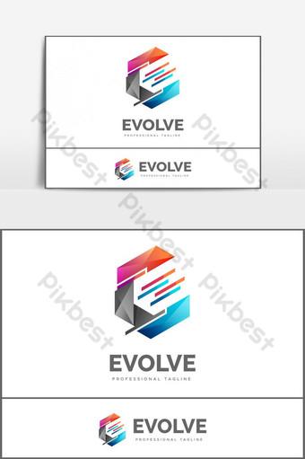 desain logo huruf e berwarna-warni yang kreatif Elemen Grafis Templat EPS