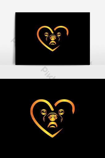 diseño creativo del logotipo del amor del perro colorido Elementos graficos Modelo EPS