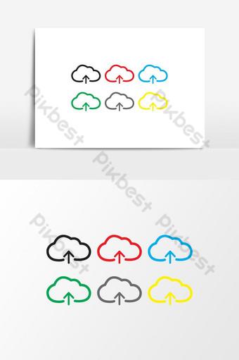 unggah ikon vektor elemen grafis unggah pada logo penyimpanan awan ikon unggah awan vektor Elemen Grafis Templat EPS