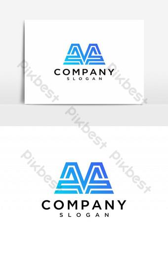 حرف م الشعار الأولي حرف م رمز تصميم عناصر قالب تصميم شعار ناقل صور PNG قالب AI