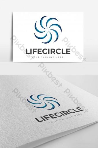Espiral circular logo abstracto forma moderna colorido signo de comunidad de vida significativa Modelo AI