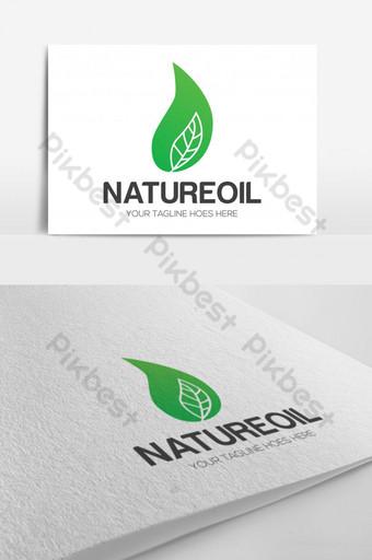طبيعة النفط شعار القالب ورقة خضراء ناقلات قالب AI