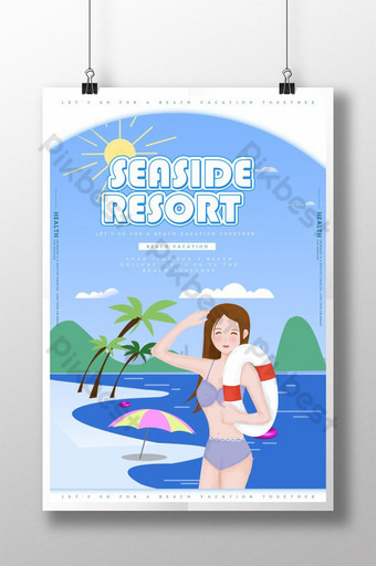 Illustration wind seaside vacation poster Template PSD