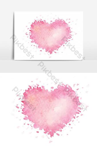 símbolos do amor, romance e dia dos namorados festival coração rosa pintado com aquarela Elementos gráficos Modelo PNG