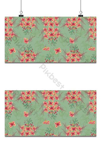 patrón sin costuras de flores de pavo real vector tropical a rayas florales naranjas a rayas Fondos Modelo AI
