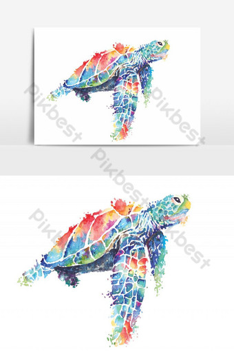 sea turtle painted with watercolors.sea creatures swimming underwater world. PNG Images Template PSD