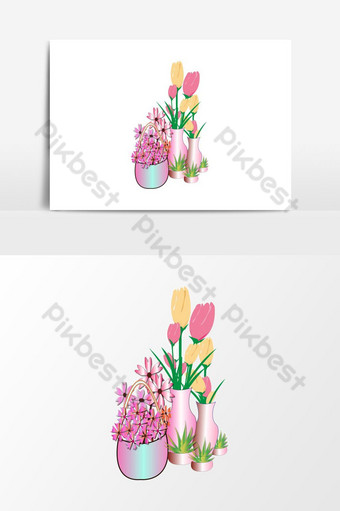 drawing flower and flower set vector illustration PNG Images Template AI