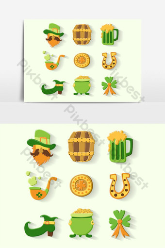 Saint Patrick s Day set. Vector Illustration PNG Images Template EPS