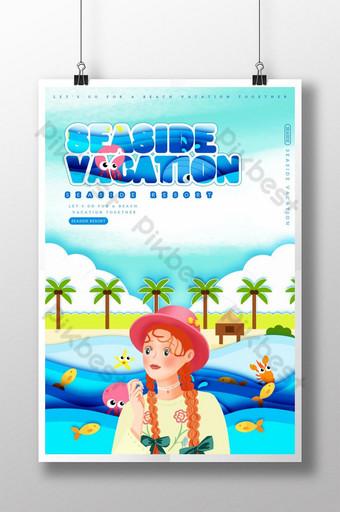 Illustration wind seaside vacation seaside Template PSD